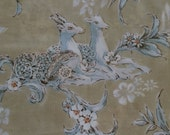 2 Vintage Pillowcases - Deer and Flowers - King Size Pair