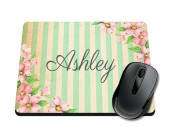 Floral / Striped Personalized Printed Mouse Pad / School Supplies / Office Desk Accessories / Mousepad / Tween / Ladies / Watercolor