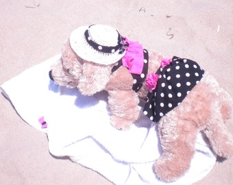 Dog Bikini, Polka Dotty Ruffles 3 piece set, Bikini-towel-hat set, Dog Beach Set