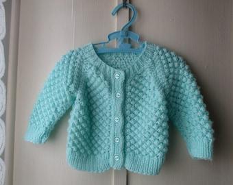 Vintage handknit minty green cardigan sweater  / baby girl newborn to 6 months