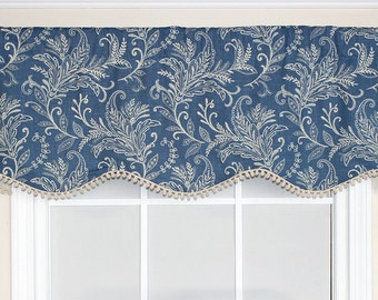 Floral shaped valance with or without trim in blue gold or black