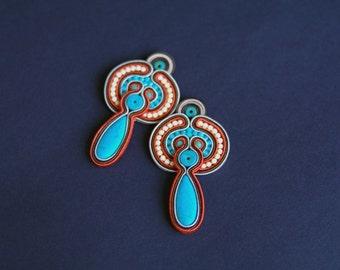 soutache earrings, turquoise earrings, gift for woman, embroidery earrings, hippie earrings,blue earrings, gift for girl, mother's day