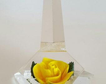 Vintage 1950s Lucite With Yellow Reverse Carved Rose Flower Ring Holder