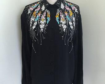 Vintage 80s/90s LILLIE RUBIN Silk Blouse Bejewelled Leather Snake Skin