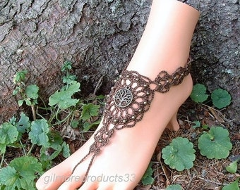 Brown Barefoot Sandals Tree of Life Anklet Foot Jewelry Ankle to Toe Bohemian Hippie Beach Wedding Bridal Shoes Women Body Jewelry