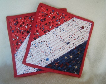 Red, White and Blue Patriotic Fabric Quilted Potholders - Set of 2 - HANDMADE BY ME