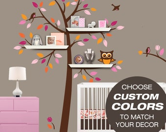 Shelving Tree Decal - Choose Custom Colors for your Tree Bookshelf Nursery Decal Set for Floating Shelves