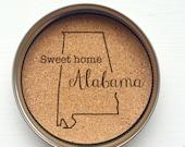 RESERVED LISTING State Mason Jar Lid Coasters- Alabama, Set of Six