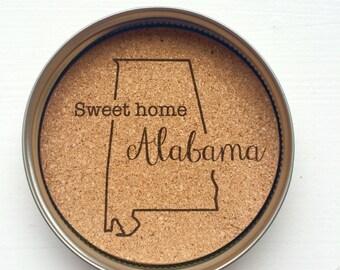 State Mason Jar Lid Coasters- Alabama, Set of Four