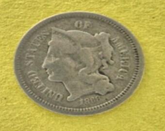 Vintage 1868 three Cent Nickel 3 Cent Nickel Collector coins Lot no. 234