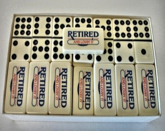 "Double Nine Dominoes With Logo "" Retired and Lovin It "" Puremo Domino Co. Waco Texas"
