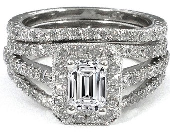 GIA Certified 2.00 Carat VS1-VS2 Emerald Cut Engagement Ring Free Matching Band!