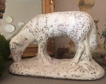 Vintage Large Concrete Sheep Statue Concrete Lamb