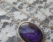 Purple & Black Glitter Locket Necklace Photo Stash Box Goth Steampunk