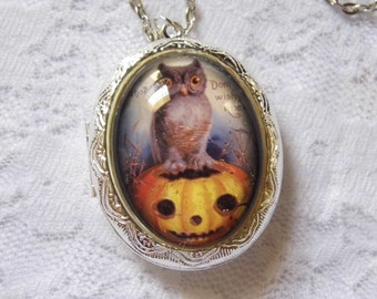 Silver Owl Locket Necklace Stash Keep Sake Picture Halloween Pumpkin