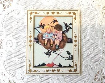 "Dear Little Art Deco Era ""Love Nest"" Valentine Card"