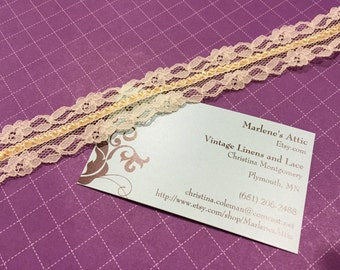 1 yard of 1 inch Ivory Chantilly lace trim with beading for wedding, veils, bridal, chic, housewares, couture by MarlenesAttic - Item 6M