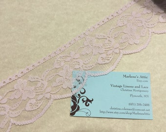 Pink lace,  1 yard of 2 1/2 inch Pink Chantilly Lace trim for bridal, baby, valentines, romantic, couture by MarlenesAttic - Item 4Z