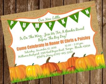Pumpkin Fall Halloween Gender Reveal Shower Invitation Download 5 x 7