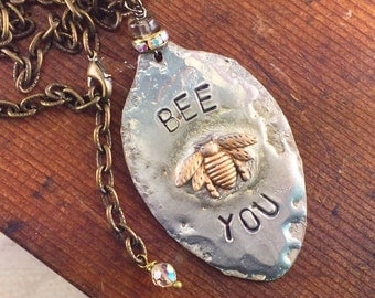 Honey Bee Spoon Necklace with Hand Stamped Message Bee You, Soldered Jewelry, One of a Kind Necklace by Kyleemae Designs