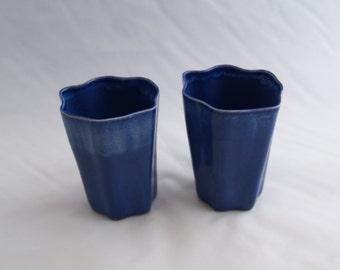 Blue Slip-cast Porcelain Ceramic Cups (Set of 2)