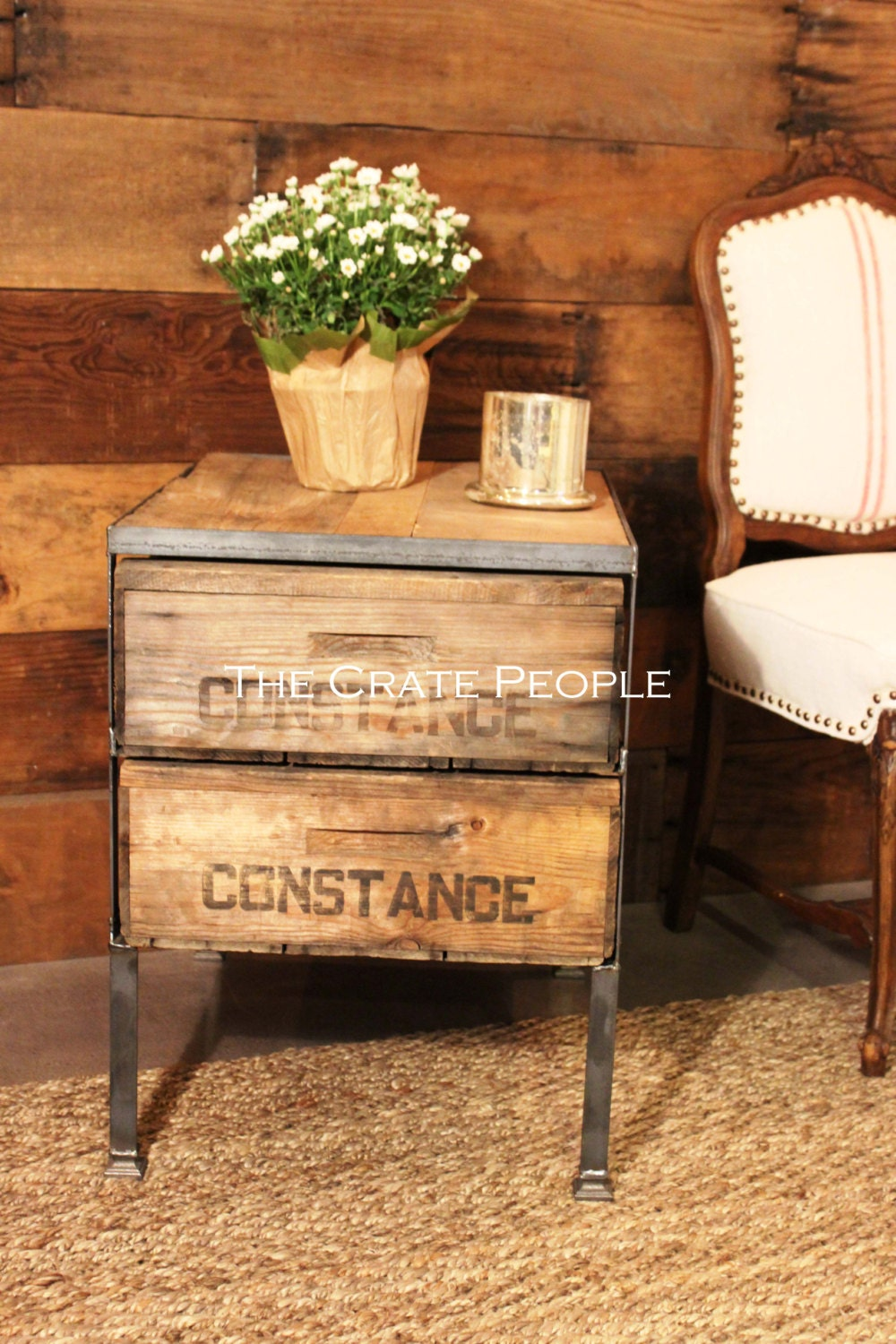 Reclaimed barn wood vintage crates side table or accent
