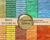 SALE Brick Texture Digital Paper Pack  - Digital Scrapbook background paper 12x12 Instant Download
