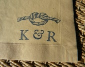 Vintage Knot Personalized Nautical Wedding Napkins in Light Burlap Paper Wedding Cocktail Napkins with Couples Initials- Set of 50