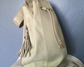Vintage Bucket Leather Backpack Natural White Tassels Cross Body