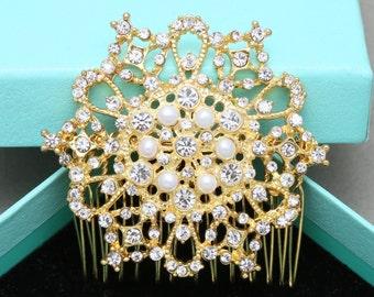 Vintage Style Flower Gold Tone Hair Comb, Freshwater Pearl Rhinestone Crystal Hair Comb, Vintage Style Bridal Hair Comb, Hair Accessory