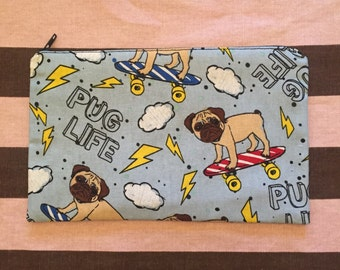 pug life kawaii dog puppy lover harajuku jfashion punk skater funny gag gift pet animal zipper pencil pouch ds case makeup bag