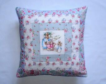 Beatrix Potter's MRS RABBIT & FAMILY Patchwork Nursery Cushion with Cath Kidston Fabrics