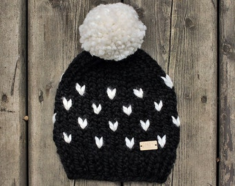 Black and White chunky knit toddler size Marble Mountain hat with pompom
