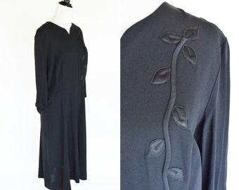 Vintage 1930's Black Day Dress - Black Mourning Dress with Floral Embellishment on Shoulder - Chic Black 30's Day Dress - Ladies Size Large