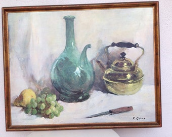 "Vintage mid century still life print canvas wine jug teapot knife by R. Colao 24""x 30"""