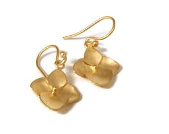 Hydrangea Earrings, Small Gold Flower Dangle Earring  Drop, Botanical Jewelry, Artisan Handmade by Sheri Beryl