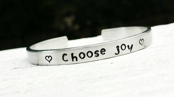 Choose Joy Bracelet Stamped Bracelet Hand By CamperGirlCrafts
