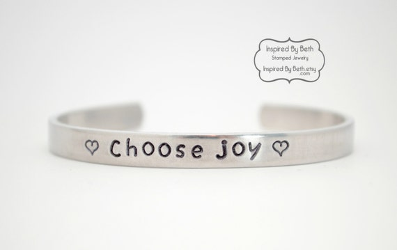 Choose Joy Bracelet Stamped Bracelet Hand By InspiredByBeth