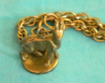 Unique Goat Charm Bracelet, Dark Gold Tone,