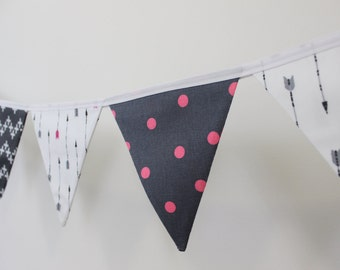 dark grey, pink and white arrow fabric flag banner bunting