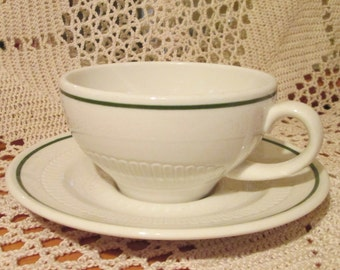 Vintage Syracuse China Modern Green Band Restaurant Ware Cup and Saucer