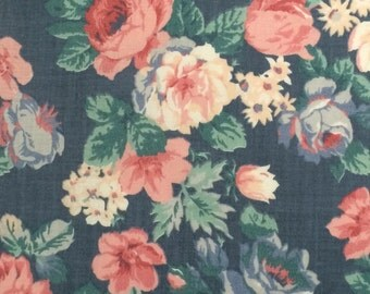 Floral Cotton Fabric / Blue Floral Fabric  / Cranston Print Works Fabric / Vintage Floral Fabric / Cotton Fabric / Large Floral Fabric