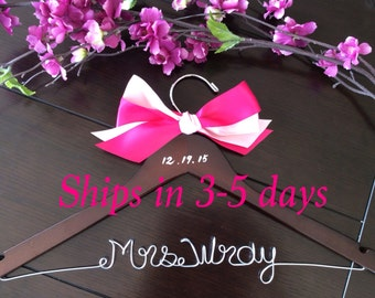 3 DAYS SALE---Rush order, Custom wire hanger, wedding hanger, name hanger, bridal hanger, wire hanger, personalized hanger