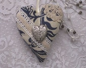 ROMANTIC  HEART ----Blue and Silver Fabric Heart ----- Embellished Stuffed Heart----