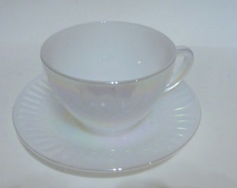 Federal Glass moonglow diamond point cup and saucer set of 6