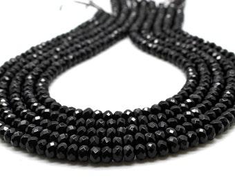 "GU-3378-1 - Black Onyx Faceted Rondelle Beads - 4X6mm - Gemstone Beads - 16"" Strand"