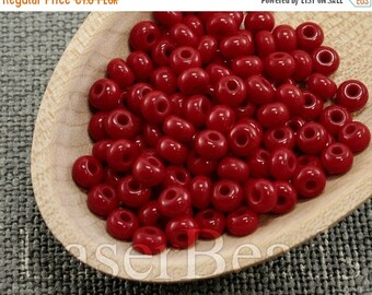 ON SALE 20% OFF Size 5 seed beads. Czech rocailles 20g. Opaque Red. Nr 298