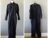 Navy Work Coverall Jumpsuit Vintage 80s Blue Oversized Utility Outfit Grunge Hipster One Piece Mens Womens Large 1980s Boho Hippie Romper