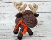 Marvin the Moose, Crochet Moose Stuffed Animal, Plush Animal, Moose Stuffed Toy, MADE TO ORDER