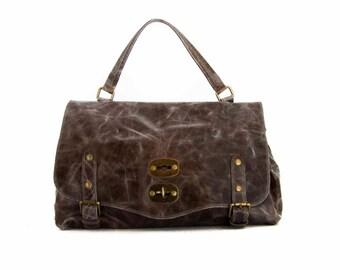 Handmade Tote Bag, Brown Italian Leather Purse, Designer Leather Handbag, Leather Briefcase -.- the Haku -.- winter sale 30% off